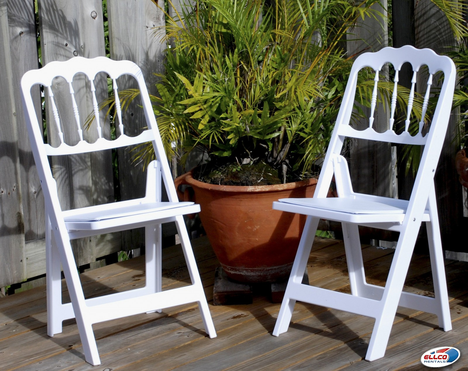 White Folding Chateau Chair With Padded Seat In Chairs At