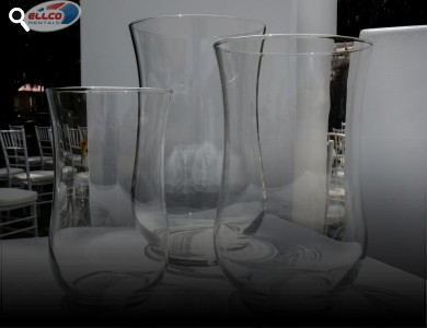 "Glass Hurricane Vases Available In Small(7.5"") Medium (9"") Large (10.5"")"