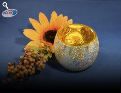 "Gold Crackled Hurricane Votive 2.5""h"